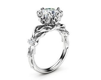 Unique Moissanite Engagement Ring 14K White Gold Ring Nature Inspired Branch Wedding Ring
