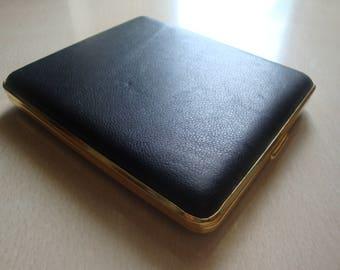Collectible Vintage Big Black Leather Cigarette Case