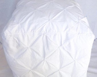 """Sale - 20% off all items. Square 20"""" X 20"""" floor pouf ottoman cube cushion pillow cover made of vintage white pin-tucked fabric.  Shabby chi"""