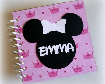 NEW ARRIVAL 80 pages Custom Personalized Disney Autograph Book Scrapbook pink with crowns Vacation Photo Book nw948