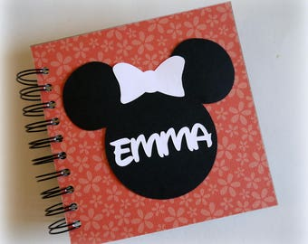 2018 80 pgs  orange flower PERSONALIZED  Disney Autograph Book Scrapbook Use it as a Travel Journal Vacation Photo Book 1829