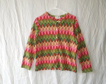 60s Colorful Zigzag Quirky Cardigan