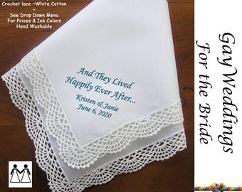 Gay Wedding ~ Bride's Hankerchief L508 Title, Sign & Date for Free!  Wedding Hankerchief Printed Handkerchief