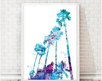 SUMMER SALE Miami watercolor print Miami palms painting Sun palms beach art Florida poster Florida Skyline print City map USA country art fl