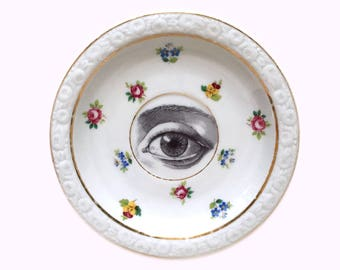 Vintage - Illustrated - Plate - Upcycled - Wall Display  - Scientific Eye - Vintage Medical - Altered - Antique - Plate - Witch Eye