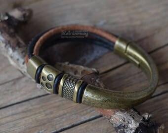 Bronze metal and leather bracelet Custom size men's leather bracelet Big bronze magnet clasp bracelet Multistrand bronze beads bracelet