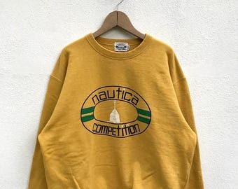 20% OFF Vintage Nautica Competition Sweatshirt / Nautica Jumper / Nautica Sport / Nautica Sailing / Hip Hop / Yellow Sweatshirt