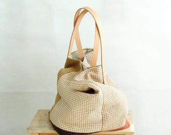 Beige Tote Bag. Handmade Tote Bag, Shopping Tote Bag, Weekender Bag, Large Market Bag, Tote Bag with Pockets, Everyday Bag