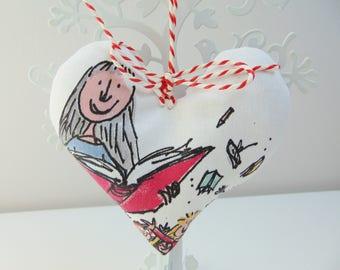 Handmade Matilda Fabric Heart, Lavender Heart, Hanging Heart Roald Dahl Door Hanger