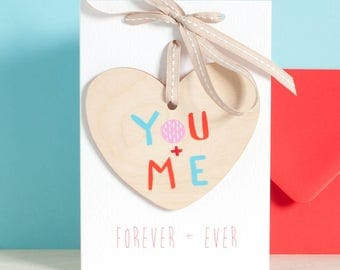 Valentine gift, heart on a card, Valentine's day card, for her, wooden heart, you and me, forever and ever, hanging decoration, palentine
