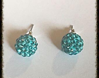 Aqua Crystal Disco Ball Stud Earrings