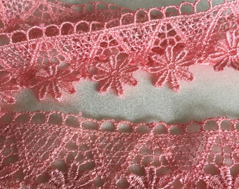 Pink Lace, polyester embroidered lace, 4 cm wide. PK017