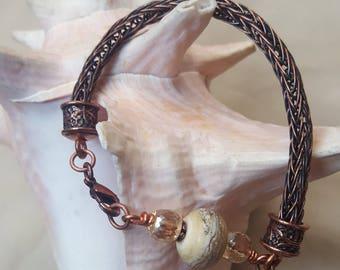 Copper Viking Knit Bracelet, with Beachy, sandstone, handmade bead