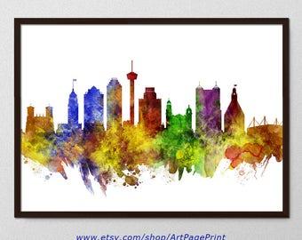 San Antonio Skyline Print, San Antonio Texas Watercolor, Wedding Wall Art, San Antonio Home Decor, San Antonio Colorful (A0612)