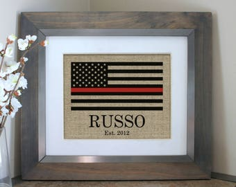 Firefighter Gift | Fire Fighter Gift | Thin Red Line | Fireman Gift | Firefighter wife | Burlap Print | Fathers Day Gift | Firefighter Dad