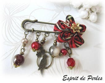 Red tartan flower 'Subtle fabrics' designer brooch