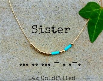 Sister Necklace, Sisters, Morse code, Morse Code Jewelry, Custom Morse Code Necklace, sister in law Morse Code Necklace, sister Gift