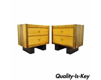 Vintage Pair Mid Century Modern Rosewood & Oak Danish Style Nightstands End Tables