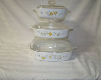6~PC VTG Yellow Floral~Bouquet~Corning Ware Baking Casserole Dishes 1~1.5~2.5 QT