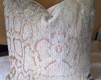 Cowtan & Tout BOA Snakeskin Chenille Custom Pillow Aqua Velvet Back