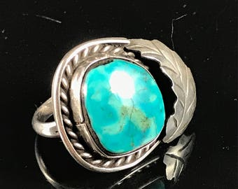 Native American sterling silver turquoise ring vintage ring old pawn navajo ring vintage ring 1970's ring Native American ring size 11