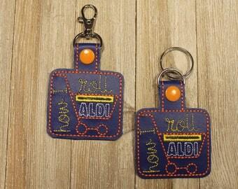 Aldi Key chain, Key chain, Aldi Keychain, Zipper Pull, Handmade, Embroidered, Key Fob, gift, Quarter holder