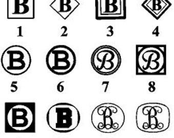 Single letter Monogram, Monogram Decal, Framed letter, Personalized decal, Custom Letter