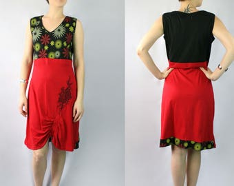 Red Black Cotton Dress with Flower Prints