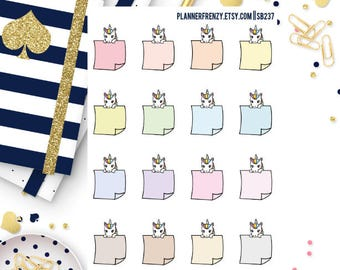 16 Peeking Diamond the Unicorn Post It Note Planner Stickers! Colorful or Neutral!