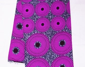 Purple and grey African fabric by the Yard record waterwell nsubura Ankara fabric African Textile  African Supplies for dress skirt headtie
