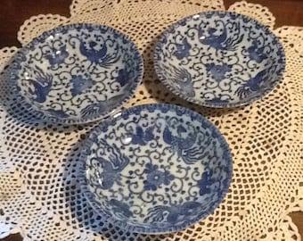 "Vintage, Phoenix Bird, Flying Phoenix, Flying Turkey, Porcelain, Luncheon, 3 5 1/2"" fruit / dessert bowls, blue transfer ware, cottage"