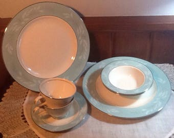 Vintage, Midcentury, Romance, Homer Laughlin, Cavalier, Eggshell, 7 pieces,  turquoise, pink, Cottage, Shabby Chic