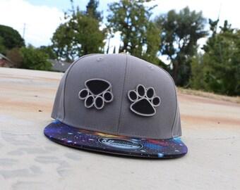Grey Bear Paw Velcro Galaxy Snapback