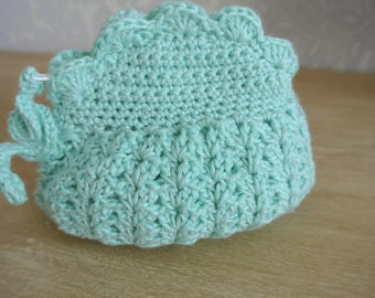 Handmade turquoise wire crochet coin purse