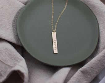 Customized Vertical Gold Bar Necklace