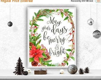 SALE Winter Poster May Your Days Be Merry And Bright Christmas Poster Wall Decor Christmas Holiday Print Christmas Printable Christmas Card