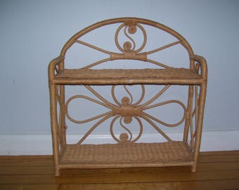 Rattan Wicker Shelf Two Tiered Standing or Hanging Vintage