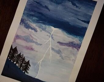 Gouache Lightning Storm Painting