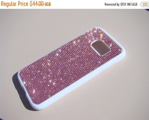 Sale Galaxy S7 Pink Diamond Crystals on White Rubber Case. Velvet/Silk Pouch Bag Included, Genuine Rangsee Crystal Cases.
