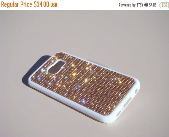 Sale Galaxy S6 Edge Rose Gold Diamond Crystals on White Rubber Case. Velvet/Silk Pouch Bag Included, Genuine Rangsee Crystal Cases.