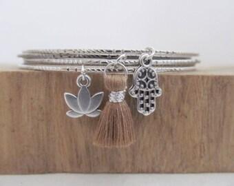 Set bangle bracelets, bangle bracelet, lotus bracelet, yoga bracelet, hamsa bracelet