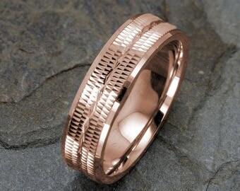 Wedding Band 14K Gold Wedding Ring Grooved Infinity Polished edge Mens Wedding Band Rose Gold Mens Ring 6mm Ring Wedding Band Mens Gold Ring
