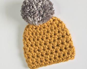 Mustard Beanie with Gray Pompom, Ready to Ship, Newborn Crochet Hat, Baby Boy Hat, Baby Girl Hat, Newborn Crochet Beanie, Gender Neutral