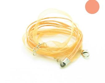 peach x 1 neck organza veil