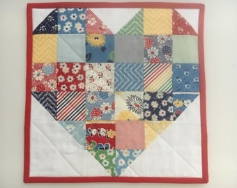 Fresh Air Sweetheart Patchwork Mini Quilt, Wall Hanging