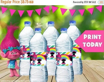 60% OFF Trolls Water Bottle Wrappers, Instant Download, Troll Party, trolls movie, sign, centerpiece, coordinating items avail, no waiting f