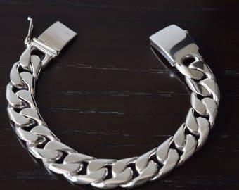 Mens .925 Sterling Silver thick and Heavy Barbado Bracelet handmade.