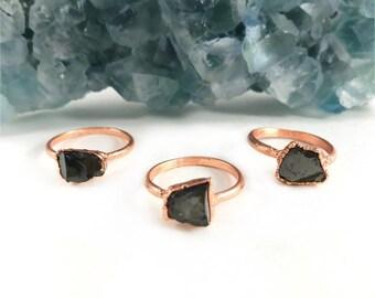 Raw Stone Ring, Shungite Ring, Raw Crystal, Electroformed Ring, Copper Ring, Black Gemstone, Stackable, Stacking Ring, Healing Ring