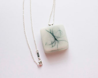 Resin Square Pendant Necklace
