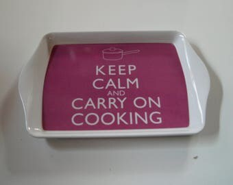 Keep Calm and Carry on Cooking Snack Tray